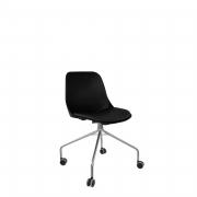 Cadeira Quick Secretária Cromada 4 pés com Rodízio e assento em Vinil