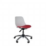 Cadeira secretária cromada estrela com rodízio e assento em Vinil