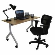Conjunto Home Office Mesa Rebatível e Cadeira Zip com Back System