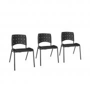 Kit 3 cadeiras base fixa secretária Ergoplax Mais 4 pés