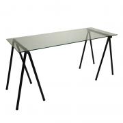 Mesa de 1,40 X 0,60 com pés cavalete tubulares e tampo de vidro 8mm Incolor