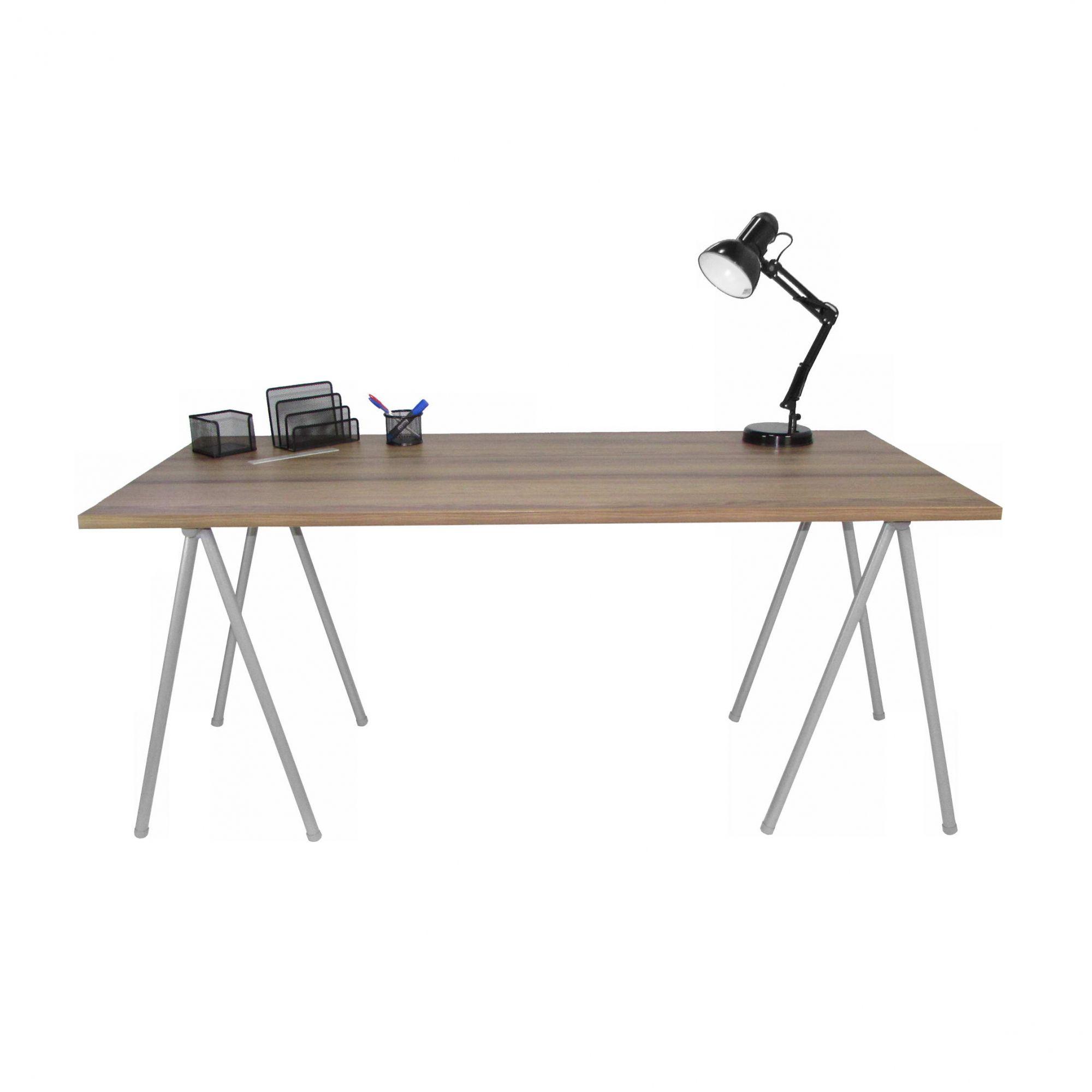Conjunto Home Office Mesa Pé Tubular com Gaveteiro Wood