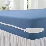 Capa para Colchão Queen Malha com Zíper - Azul