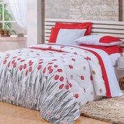 Cobre Leito Casal Estampado 3 peças Fascínio - Floral Vermelho