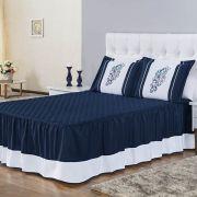 Colcha Casal Encantus 3 peças - Azul Marinho