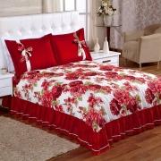 Colcha Casal Isabela Estampada 3 Peças - Floral Vermelho