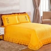 Colcha Queen Matelassê com Babadinho Envolto 3 Peças Ester - Amarelo