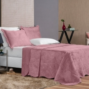 Colcha Queen Velvet Luxus 3 Peças - Rosê