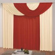 Cortina Para Varão Simples 2,00m x 1,60m Mariana - Vermelho/Palha