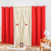 Cortina Rústica 2,00m x 1,70m - Vermelho