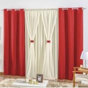 Cortina Rústica 4,20m x 2,50m - Vermelho