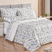 Edredom King Dupla Face 180 Fios Requinte 3 Peças - Floral Azul