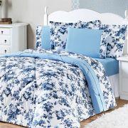 Edredom King Estampado Murano 3 Peças - Floral Azul
