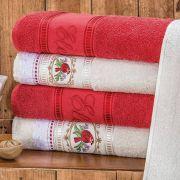 Jogo de Banho Bordado Ponto Russo Algodão 5 Peças - Palha/Vermelho