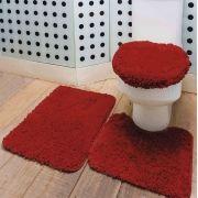 Jogo de Tapetes Antiderrapante Para Banheiro 3 Peças - Vermelho