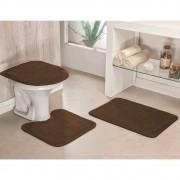 Jogo de Tapetes para Banheiro Antiderrapante 3 Peças Café