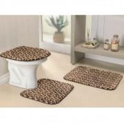 Jogo de Tapetes para Banheiro Antiderrapante Girafa 3 Peças
