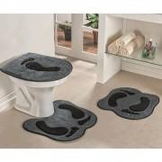 Jogo de Tapetes para Banheiro Antiderrapante Pegada Cinza 3 Peças