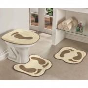 Jogo de Tapetes para Banheiro Antiderrapante Pegada Palha 3 Peças