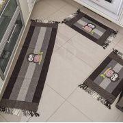 Jogo de Tapetes para Cozinha Biju 3 Peças - Coruja