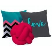 Kit Almofadas Love 3 peças - Pink