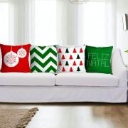 Kit Capas de Almofada Natal 4 peças - Verde