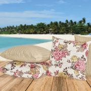 Kit Capas para Almofadas Floral Cáqui 45cm x 45cm - 4 Peças