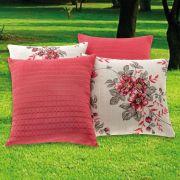 Kit Capas para Almofadas Floral Vermelho 45cm x 45cm - 4 Peças