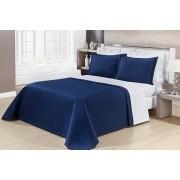 Kit Cobre Leito Casal King Size Azul Marinho Pratic 100% Algodão 3 Peças