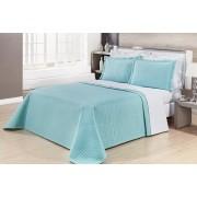 Kit Cobre Leito Casal Super King Size Azul Tiffany Pratic 100% Algodão 3 Peças