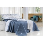 Kit Cobre Leito Super King Size Priore Azul Marinho  3 Peças - 400 fios - fio egípcio