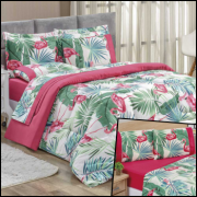 Kit Edredom King 7 Peças Micropercal 200 Fios Naturale - Flamingo