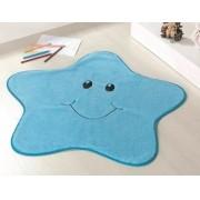 Tapete Infantil Formato Estrelinha Azul 78cm x 70cm Pelúcia