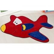 Tapete para Sala e Quarto Intantil Aviãozinho Vermelho 98cm x 68cm