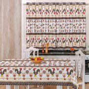 Toalha de Mesa 1,50m x 1,40m + Cortina 2m Estampadas 2 peças - Galo