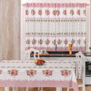 Toalha de Mesa 2,50m x 1,40m + Cortina 2m Estampadas 2 peças - Flores