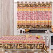 Toalha de Mesa 2,50m x 1,40m + Cortina 2m Estampadas 2 peças - Talheres