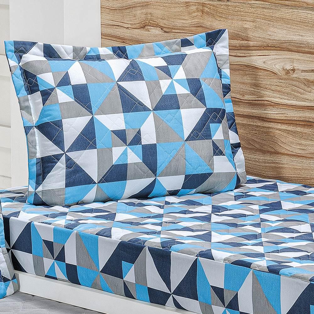 Cobre Leito Bicama Solteiro Estampado com Elástico 2 Peças Pratice - Geométrico Azul