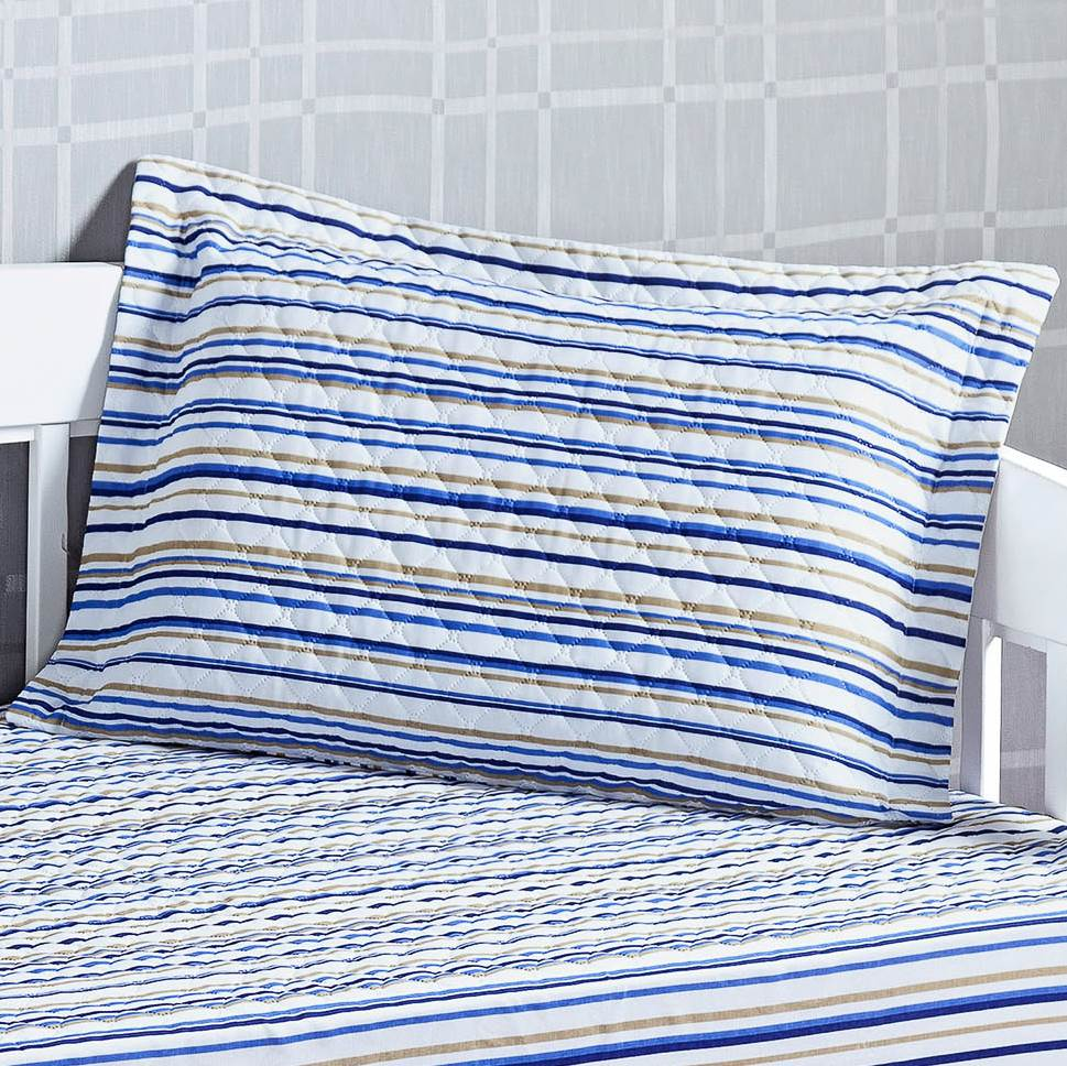 Cobre Leito Bicama Solteiro Matelassê Estampado com Elástico - Prático 2 Peças Listrado Azul