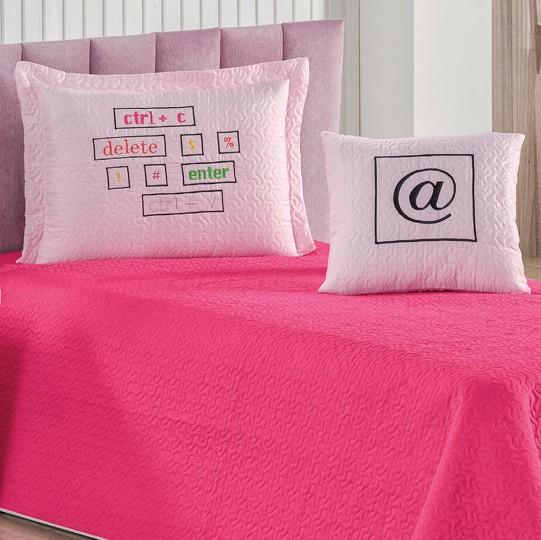 Cobre Leito Blog Solteiro Matelado Ultrassônico 3 peças - Pink