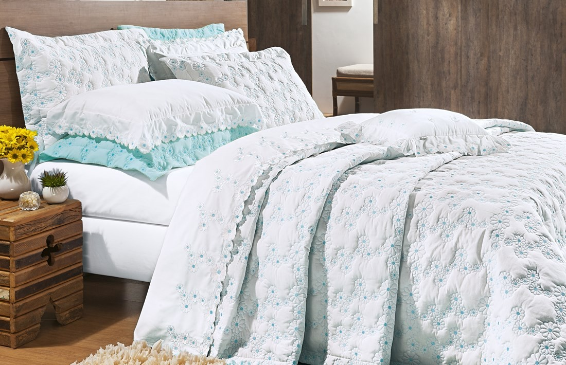 Cobre Leito Bordado Queen Size Azul Tiffany 3 Peças Nuance