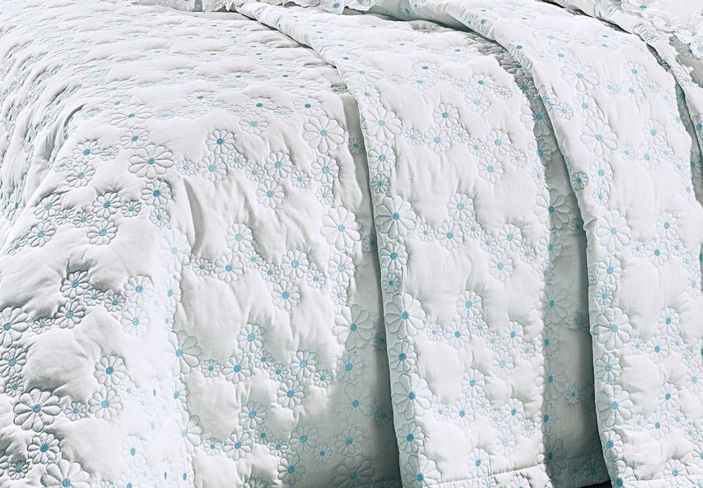 Cobre Leito Bordado Super King Size Branco/Azul Tiffany  3 Peças Nuance