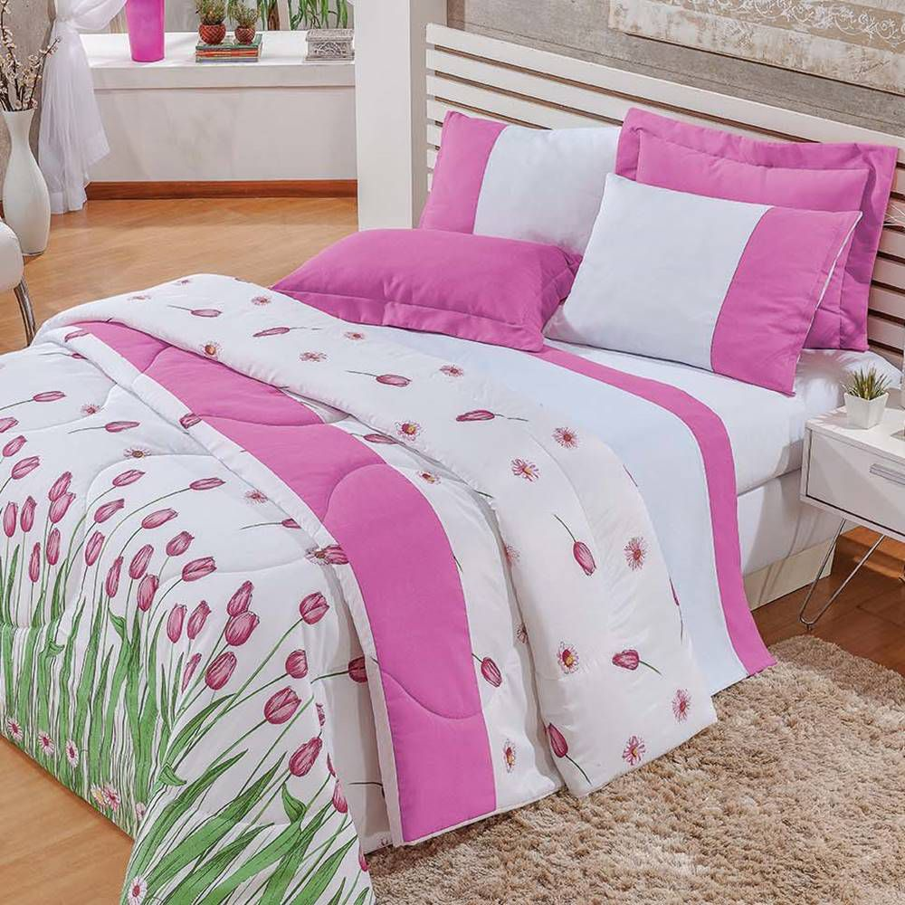 Cobre Leito Casal Estampado 3 peças Fascínio - Floral Rosa