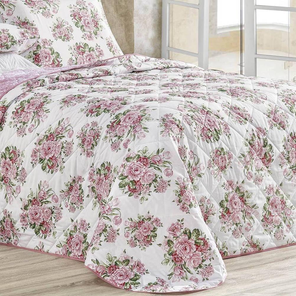 Cobre Leito Casal Padrão Dupla Face 4 Peças Esmeralda Estampa Bouquet Rosa