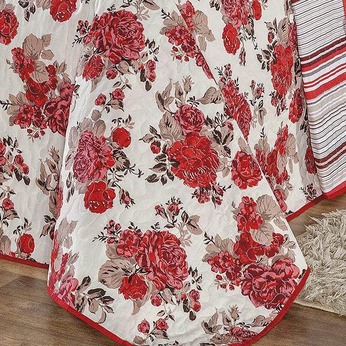 Cobre Leito Dupla Face Queen Estampado Requinte 3 Peças - Floral Vermelho