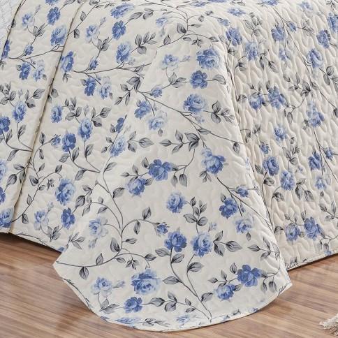 Cobre Leito Dupla Face Super King Estampado Requinte 3 Peças - Floral Azul