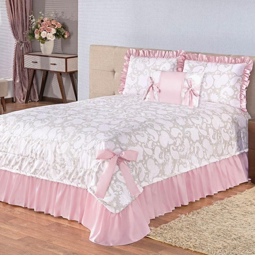 Cobre Leito Florata Queen Estampado 4 peças - Rosê