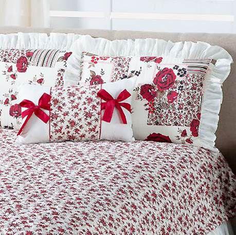 Cobre Leito Florata Queen Estampado 4 peças - Vermelho