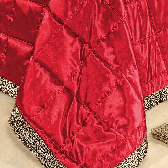 Cobre Leito Queen Cetim Charmousse 7 peças Safari - Vermelho