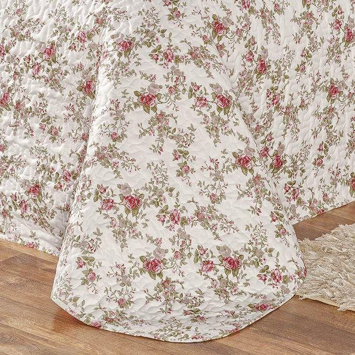 Cobre Leito Queen Dupla Face Estampado 3 peças Naturalle - Floral Rosa